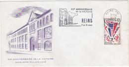 XXe ANNIVERSAIRE DE LA VICTOIRE - ENVELOPPE PHILATELIQUE / 1965 - REIMS 7 Et 8 Mai / Lycée Roosvelt / Timbre 0.40 - 1960-1969