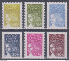 Année 2003 - N° 3570 à 3575 - Marianne De Luquet - Série 6 Valeurs - Cote 16 € - 1997-04 Marianne Of July 14th