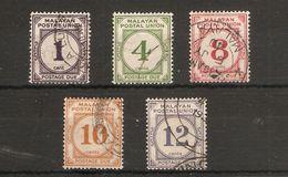 MALAYA - MALAYAN POSTAL UNION 1936 - 1938 POSTAGE DUE SET TO 12c SG D1/D5 FINE USED Cat £18.75 - Malayan Postal Union