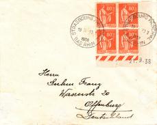 Env Affr Y&T 366 X 4 [Cin Daté Du 21.9.38] Obl STRASBOURG PRINCIPAL Du 30.III.1938 - Elzas-Lotharingen