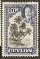 Ceylon 1935 SG 374  20c  Mounted Mint - Ceylon (...-1947)