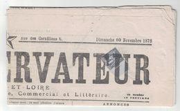 """1878 - SAGE N°83 Obliteration TYPOGRAPHIQUE Sur JOURNAL COMPLET """"LE CONSERVATEUR"""" Saone Et Loire Politique Commercial - Marcophilie (Lettres)"""