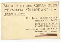 HEMIKSEM - Reklamekaart Manufactures Céramiques D'Hemixem Gilliot Et Cie Op Kaart BRUSSEL EXPO 1935 Avenue Astrid - Hemiksem