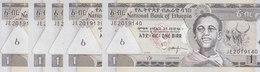 ETHIOPIA 1 BIRR 2008 P-46e X5 UNC NOTES LOT */* - Ethiopie