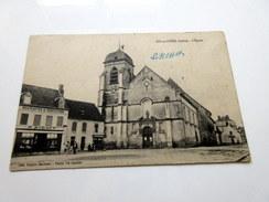 """CPA Animée - AIX En OTHE (10) - L'église - Magasin """"Nouveautés Et Confections P. Bidaut - France"""
