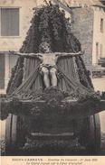 08-SIGNY-L'ABBAYE- ERECTION DU CALVAIRE 1er JUIN 1925, LE CHRIST EXPOSE SUR LE CHAR TRIOMPHAL - France