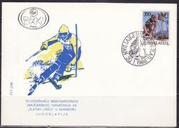 """Yugoslavia, 1988, Women Competition For Female Skiers """"Zlatna Lisica"""", FDC - FDC"""