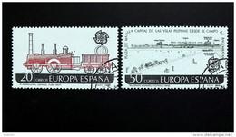 Spanien 2828/9 Oo/used, EUROPA/CEPT 1988, 1. Span. Lokomotive In Kuba (1837), Optischer Telegraph (1818) - 1931-Heute: 2. Rep. - ... Juan Carlos I
