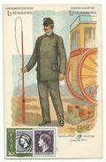 Luxembourg Conducteur Des Postes Postkutscher Litho Um 1900 Blanko Gestempelt 1952 - Postcards
