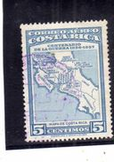 COSTA RICA 1957 AIR MAIL POSTA AEREA AEREO WAR CENTENARY MAP OF GUANACASTE CENT. 5c USATO USED OBLITERE' - Costa Rica