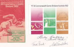 Australia 1982 XII Commonwealth Games Miniature Sheet, Signed By Athlets, FDC - FDC