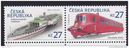 CZECH REPUBLIC, 2016, MNH, SHIPS, STEAMBOATS, TRAINS, 2v - Barche