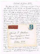 176 PASTEUR 50C SEUL SUR LETTRE ADRESSEE AU MAROC TARIF SURTAXE AVION AVEC CONTENU DEF D'OUVERTURE - Postmark Collection (Covers)