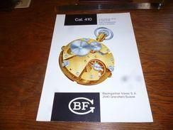 Folder Technique Horlogerie BF Baumgartner Frères Grenchen Cal. 410 Avec échappement Ancre à Goupilles - Bijoux & Horlogerie