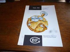 Folder Technique Horlogerie BF Baumgartner Frères Grenchen Cal. 410 Avec Assortiment à Ancre - Bijoux & Horlogerie