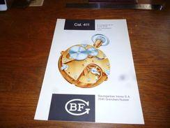 Folder Technique Horlogerie BF Baumgartner Frères Grenchen Cal. 411 Avec échappement Ancre à Goupilles - Bijoux & Horlogerie