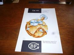 Folder Technique Horlogerie BF Baumgartner Frères Grenchen Cal. 411 Avec Assortiment Ancre - Bijoux & Horlogerie