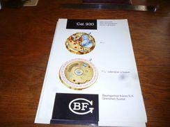 Folder Technique Horlogerie BF Baumgartner Frères Grenchen Cal. 930 Sans Seconde Avec échappement Ancre à Goupilles - Bijoux & Horlogerie