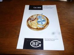 "Folder Technique Horlogerie BF Baumgartner Frères Grenchen Cal. 866 12"" Et 13""1/2 Seconde Au Centre A/calendrier - Bijoux & Horlogerie"