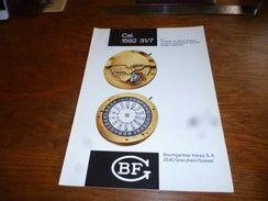 "Folder Technique Horlogerie BF Baumgartner Frères Grenchen Cal. 1582 31/7 13 1/2"" Seconde Au Centre Directe - Bijoux & Horlogerie"