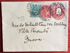 PEEBLES 27/11/1902  BIGLIETTO POSTALE 1 P.+1 + Half  Penny PER GENEVE - Storia Postale