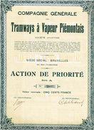 Action Ancienne - Compagnie Générale Des Tramways à Vapeur Piémontais - Titre De 1924 - Railway & Tramway