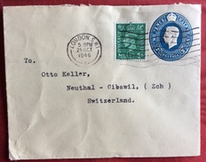 LONDON S.W.1 25/10/1946  BIGLIETTO POSTALE TWO PENCE +  Half  Penny PER NEUTHAL SVIZZERA - Storia Postale