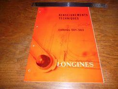 Folder  Horlogerie Technique Longines Calibres 501 503 10 Pages - Bijoux & Horlogerie