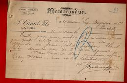 Courrier Mémorandum Laines J. Canal Fils Orléans 11-12-1896 - 1800 – 1899