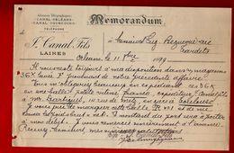 Courrier Mémorandum Laines J. Canal Fils Orléans 11-10-1899 - 1800 – 1899