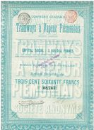 Action Ancienne - Compagnie Générale Des Tramways à Vapeur Piémontais - Titre De 1897 - Railway & Tramway