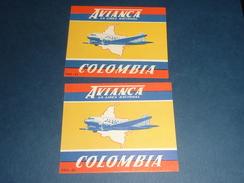 ETIQUETTES AVIATION LOT DE 2 VIGNETTES Collantes - AVIANCA LA LINEA NACIONAL COLOMBIA - AIR MAIL ...(X) - Étiquettes à Bagages