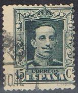 Sello 15 Cts Alfonso XIII, Vaquer, VARIEDAD Descentrada, Salto Peine, Num 315 º - 1889-1931 Reino: Alfonso XIII