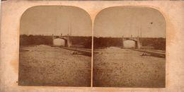 Photo Stéréoscopique - Site à Identifier Ligne De Chemin De Fer Et Pont - Stereoscopic