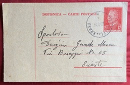STANJEL NA KRASU S.DANIELE DEL CARSO SU INTERO POSTALE JUGOSLAVIA  17 D. Per TRIESTE IN DATA 27/8/54 - Slovenia