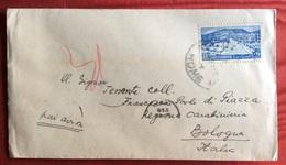 SIRIA  25 P. ISOLATO SU BUSTA VIA AEREA  DA HOMS A BOLOGNA VIA DAMAS IN DATA 20/12/1949 - Siria