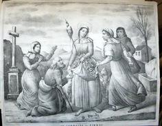 31 PIBRIAC TOULOUSE SAINTE GERMAINE GRANDE LITHOGRAPHIE ORIGINALE 1840 SAINTS MIRACLE DES FLEURS - Stampe & Incisioni