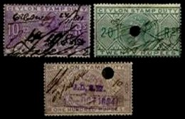 CEYLON, Revenues, B&H 10, 13, 24, Used, F/VF, Cat. £ 45 - Ceylan (...-1947)