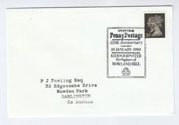 1990 PENNY BLACK Anniv UNIFORM PENNY POST Pmk COVER FDC Kidderminster Gb Stamps - FDC