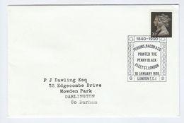 1990 PENNY BLACK Anniv PERKINS BACON PRINTER Pmk COVER FDC Fleet Street London  Gb Stamps - FDC