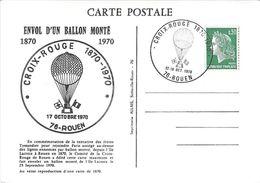FDC Envol D'un Ballon Monté 1870 1970 Croix Rouge Rouen - FDC
