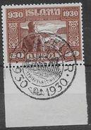 Islande 1930 N° 133 Oblitéré Millénaire Du Parlement Avec Très Belle Oblitération - Gebruikt