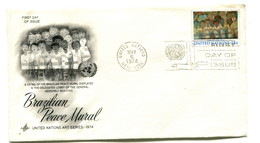 1974 United Nations Brazilian Peace Mural First Day Cover - New York – UN Headquarters