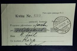 Latvia : Money Order Receipts 1926 Wolmar Riga - Lettland