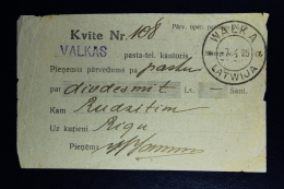 Latvia : Money Order Receipts 1925 Walka Riga - Lettland
