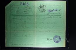 Latvia : Telegraphic Money Order 1933 Riga Eckengraf - Lettland