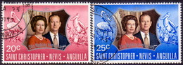 ST KITTS_NEVIS 1972 SG #256-57 Compl.set Used Royal Silver Wedding - St.Christopher-Nevis-Anguilla (...-1980)