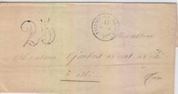 Lettre De Valence D'Albigeois (T 15) Du 17 Juil 1853 Pour Albi, Taxe 25 Double Trait - 1849-1876: Période Classique