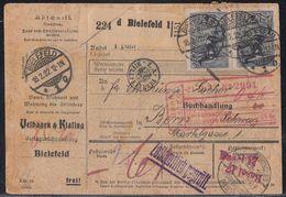 DR Paketkarte Mif Minr.2x 115,147,149,2x 175,3x 176 Bielefeld 18.2.22 Gel. In Schweiz - Deutschland