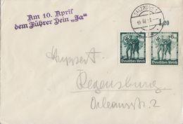 DR Brief Mef Minr.2x 662 Salzburg 10.4.38 Nebenstempel Beachten - Briefe U. Dokumente